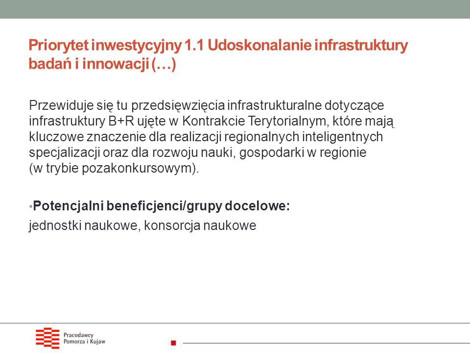 Priorytet inwestycyjny 1.1 Udoskonalanie infrastruktury badań i innowacji (…) Przewiduje się tu przedsięwzięcia infrastrukturalne dotyczące infrastruk