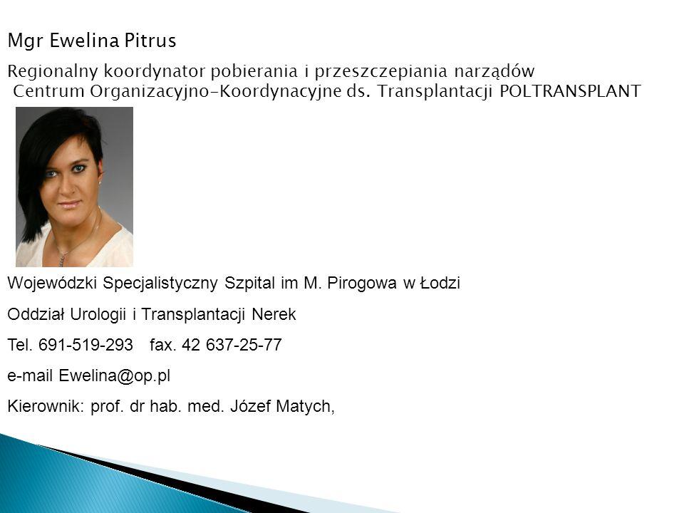 Mgr Ewelina Pitrus Wojewódzki Specjalistyczny Szpital im M. Pirogowa w Łodzi Oddział Urologii i Transplantacji Nerek Tel. 691-519-293 fax. 42 637-25-7