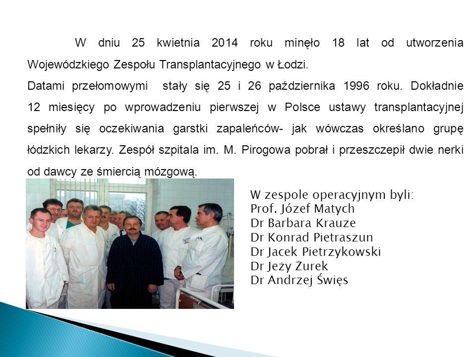 W dniu 25 kwietnia 2014 roku minęło 18 lat od utworzenia Wojewódzkiego Zespołu Transplantacyjnego w Łodzi. Datami przełomowymi stały się 25 i 26 paźdz