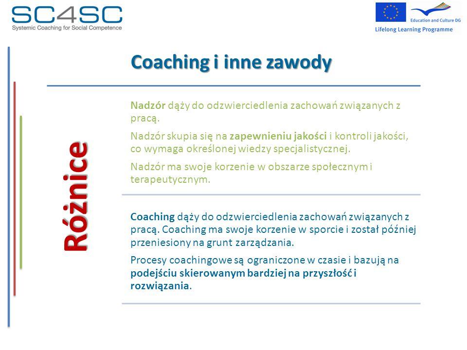 Coaching i inne zawody Różnice Nadzór dąży do odzwierciedlenia zachowań związanych z pracą. Nadzór skupia się na zapewnieniu jakości i kontroli jakośc