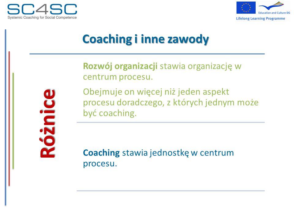 Coaching i inne zawody Różnice Rozwój organizacji stawia organizację w centrum procesu. Obejmuje on więcej niż jeden aspekt procesu doradczego, z któr