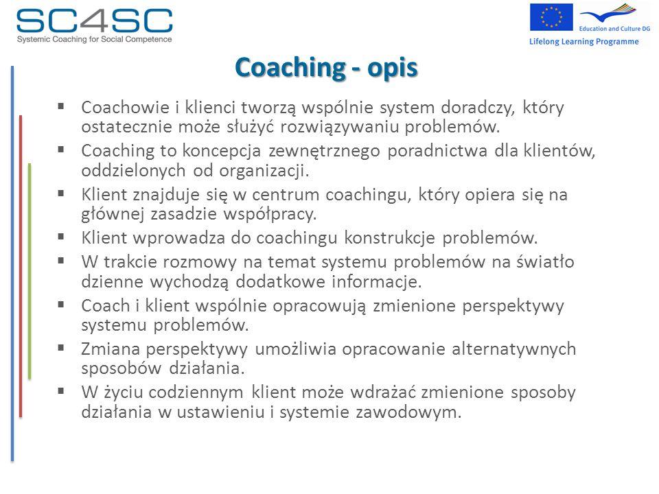 Coaching - opis  Coachowie i klienci tworzą wspólnie system doradczy, który ostatecznie może służyć rozwiązywaniu problemów.  Coaching to koncepcja