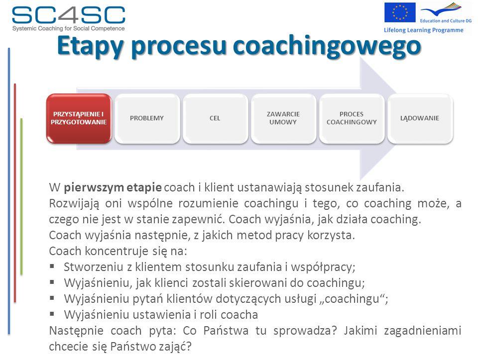 W pierwszym etapie coach i klient ustanawiają stosunek zaufania. Rozwijają oni wspólne rozumienie coachingu i tego, co coaching może, a czego nie jest