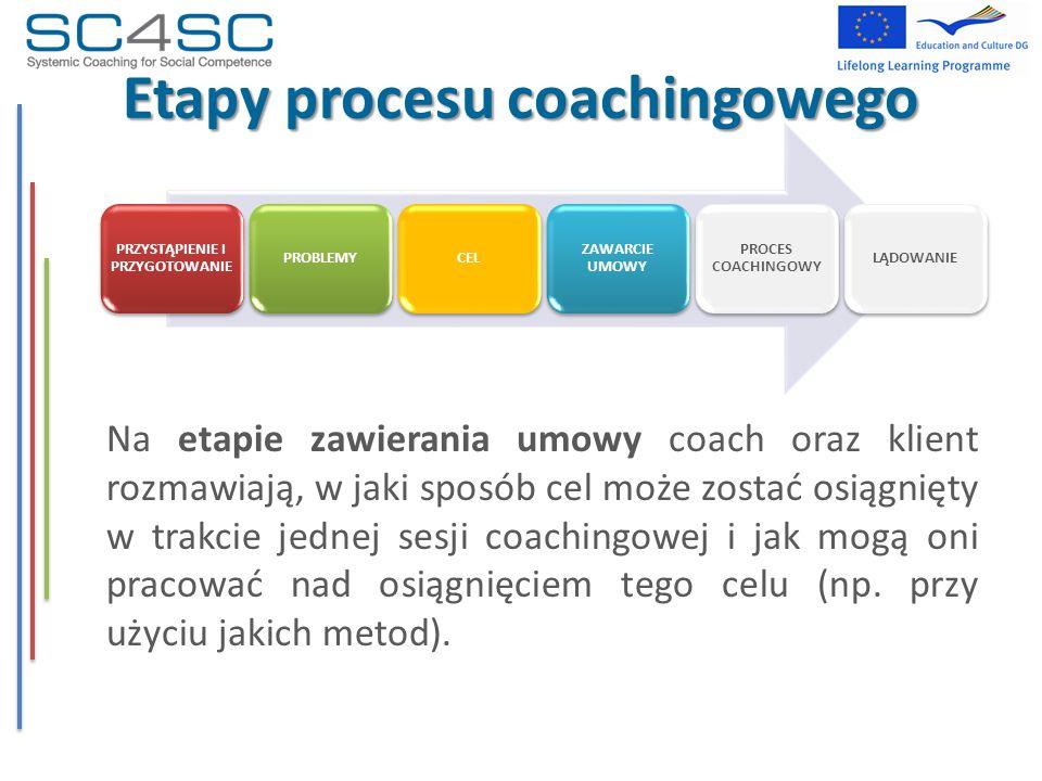 Etapy procesu coachingowego Na etapie zawierania umowy coach oraz klient rozmawiają, w jaki sposób cel może zostać osiągnięty w trakcie jednej sesji c
