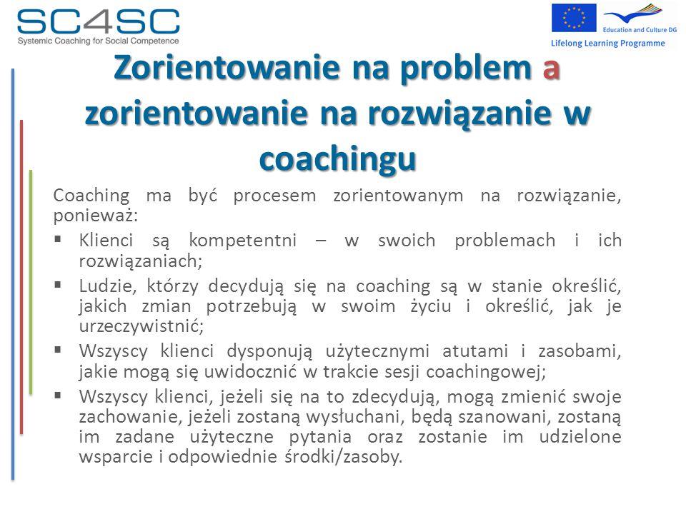 Zorientowanie na problem a zorientowanie na rozwiązanie w coachingu Coaching ma być procesem zorientowanym na rozwiązanie, ponieważ:  Klienci są komp