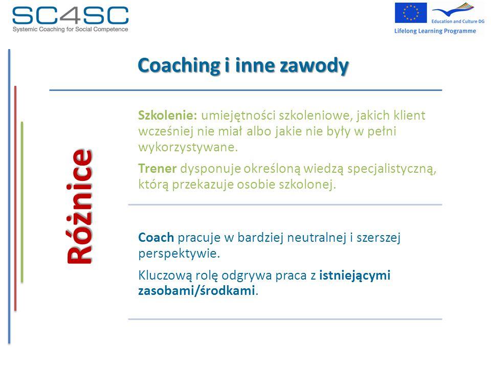 Coaching i inne zawody Różnice Szkolenie: umiejętności szkoleniowe, jakich klient wcześniej nie miał albo jakie nie były w pełni wykorzystywane. Trene