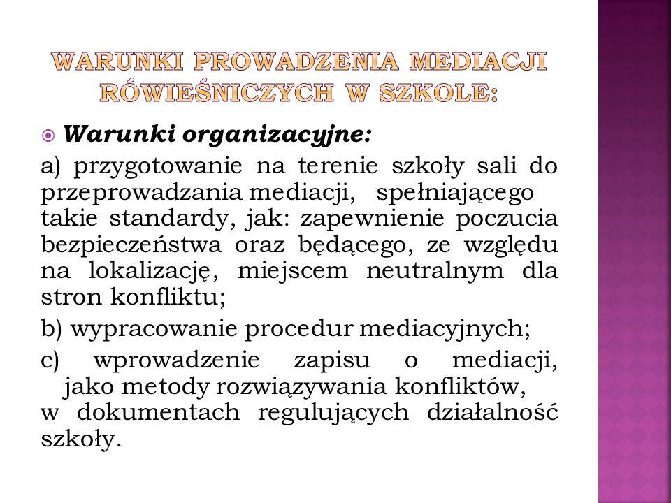  Warunki organizacyjne: a) przygotowanie na terenie szkoły sali do przeprowadzania mediacji, spełniającego takie standardy, jak: zapewnienie poczucia