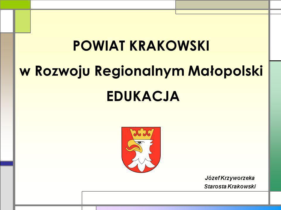 POWIAT KRAKOWSKI w Rozwoju Regionalnym Małopolski EDUKACJA Józef Krzyworzeka Starosta Krakowski
