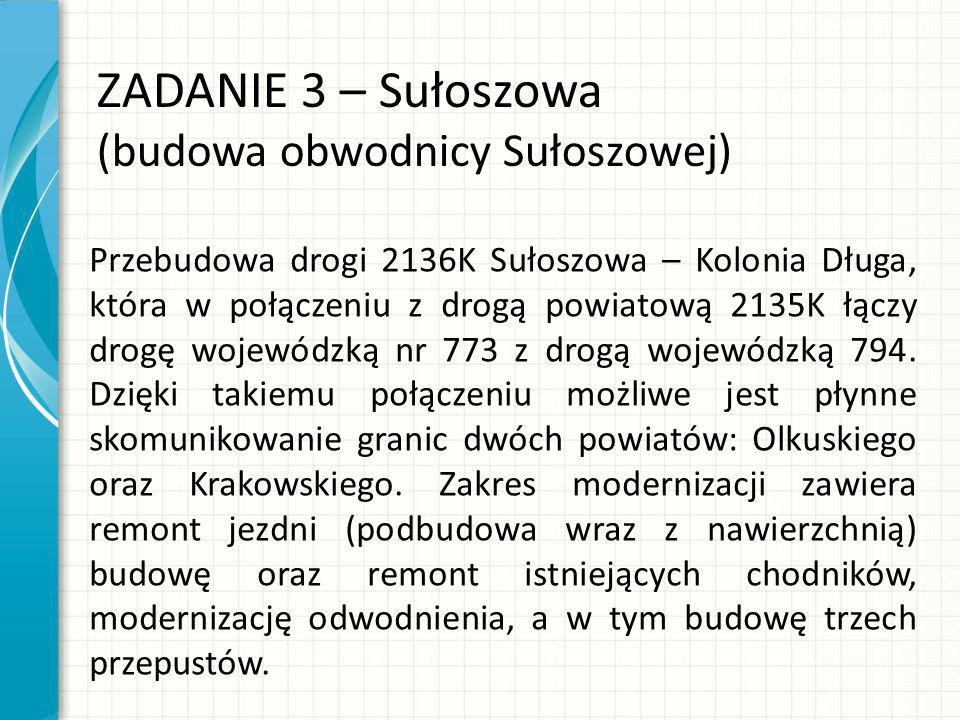ZADANIE 3 – Sułoszowa (budowa obwodnicy Sułoszowej) Przebudowa drogi 2136K Sułoszowa – Kolonia Długa, która w połączeniu z drogą powiatową 2135K łączy drogę wojewódzką nr 773 z drogą wojewódzką 794.