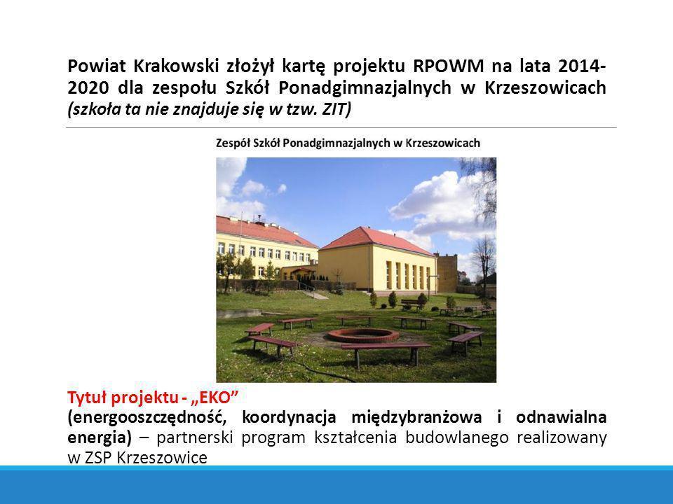 Powiat Krakowski złożył kartę projektu RPOWM na lata 2014- 2020 dla zespołu Szkół Ponadgimnazjalnych w Krzeszowicach (szkoła ta nie znajduje się w tzw.