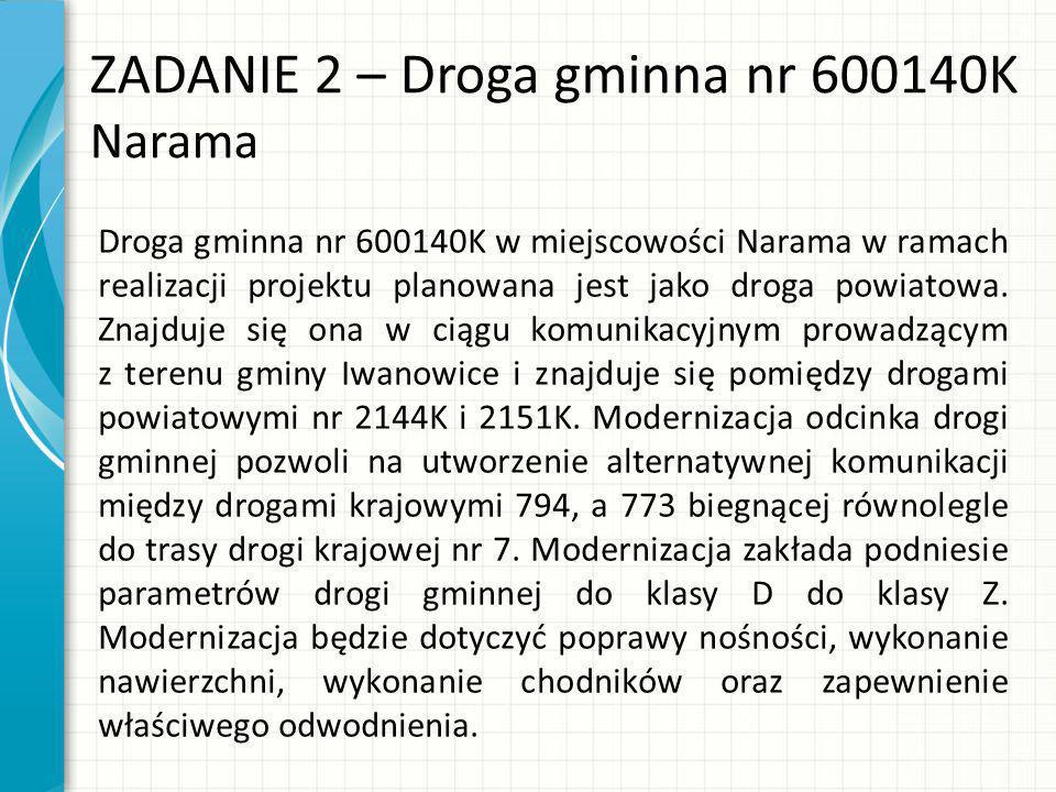 ZADANIE 2 – Droga gminna nr 600140K Narama Droga gminna nr 600140K w miejscowości Narama w ramach realizacji projektu planowana jest jako droga powiatowa.