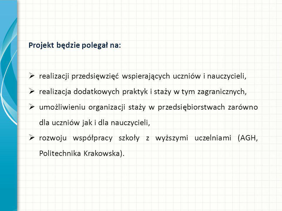 Projekt będzie polegał na:  realizacji przedsięwzięć wspierających uczniów i nauczycieli,  realizacja dodatkowych praktyk i staży w tym zagranicznych,  umożliwieniu organizacji staży w przedsiębiorstwach zarówno dla uczniów jak i dla nauczycieli,  rozwoju współpracy szkoły z wyższymi uczelniami (AGH, Politechnika Krakowska).