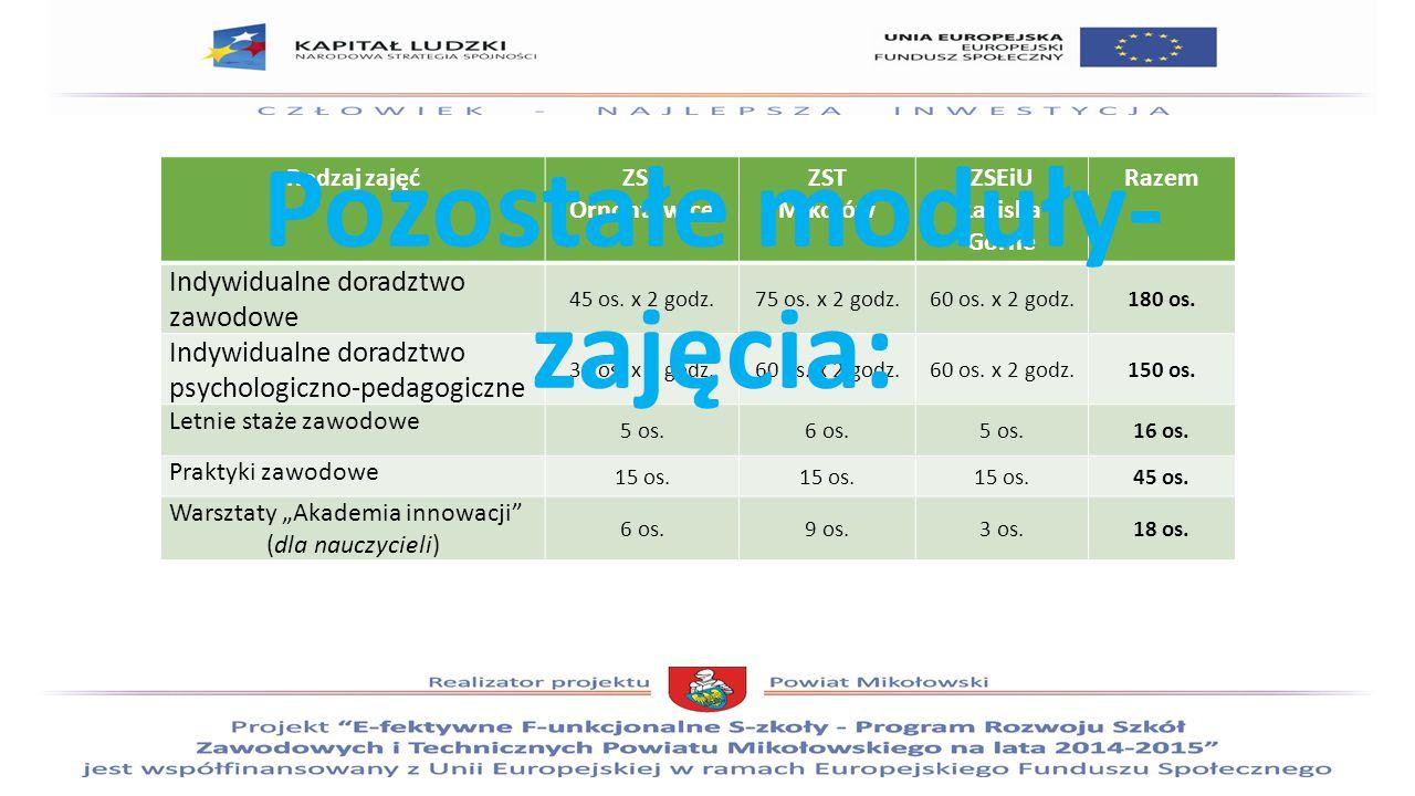 Rodzaj zajęćZSP Ornontowice ZST Mikołów ZSEiU Łaziska Górne Razem Indywidualne doradztwo zawodowe 45 os.