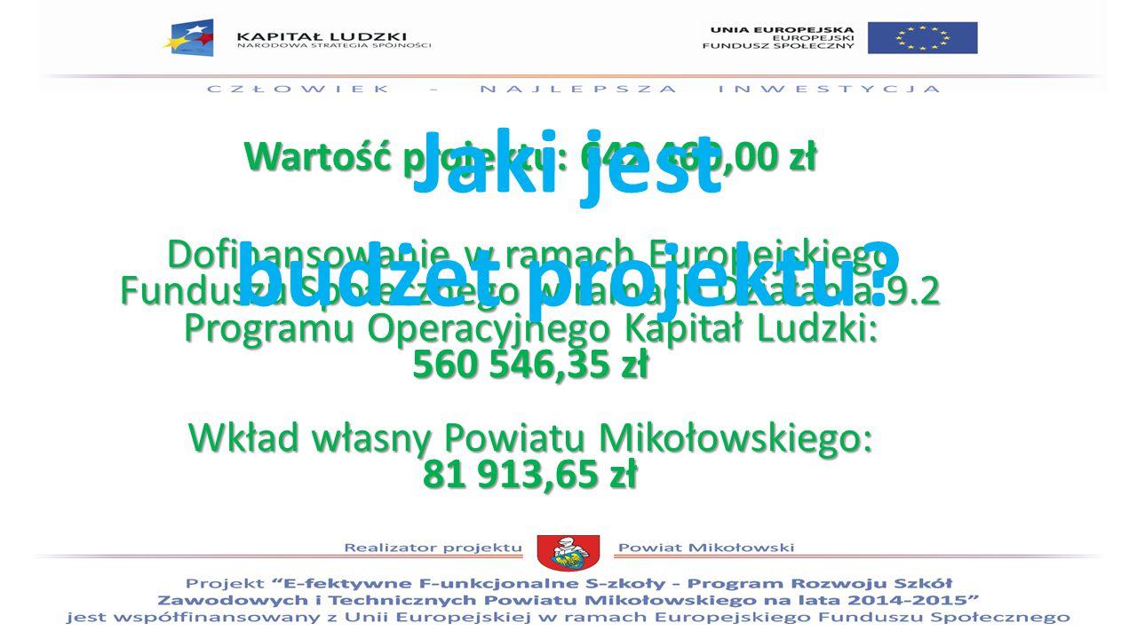 Wartość projektu: 642 460,00 zł Dofinansowanie w ramach Europejskiego Funduszu Społecznego w ramach Działania 9.2 Programu Operacyjnego Kapitał Ludzki: 560 546,35 zł Wkład własny Powiatu Mikołowskiego: 81 913,65 zł Jaki jest budżet projektu