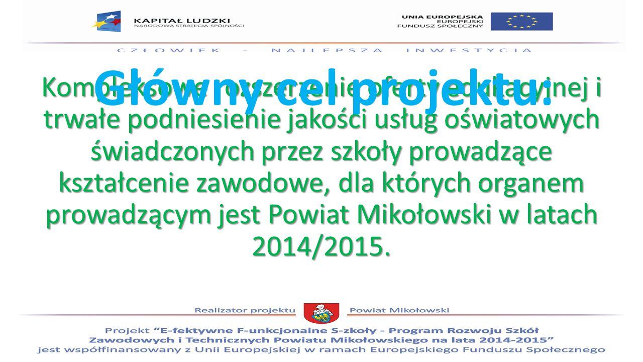 Kompleksowe rozszerzenie oferty edukacyjnej i trwałe podniesienie jakości usług oświatowych świadczonych przez szkoły prowadzące kształcenie zawodowe, dla których organem prowadzącym jest Powiat Mikołowski w latach 2014/2015.
