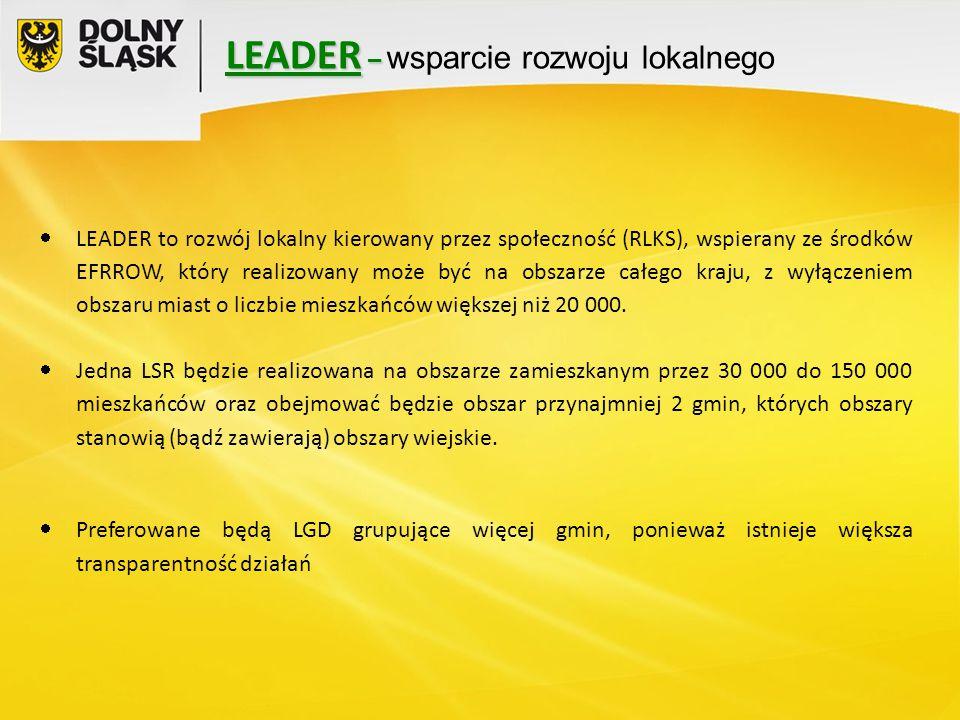 LEADER – LEADER – wsparcie rozwoju lokalnego  LEADER to rozwój lokalny kierowany przez społeczność (RLKS), wspierany ze środków EFRROW, który realizowany może być na obszarze całego kraju, z wyłączeniem obszaru miast o liczbie mieszkańców większej niż 20 000.