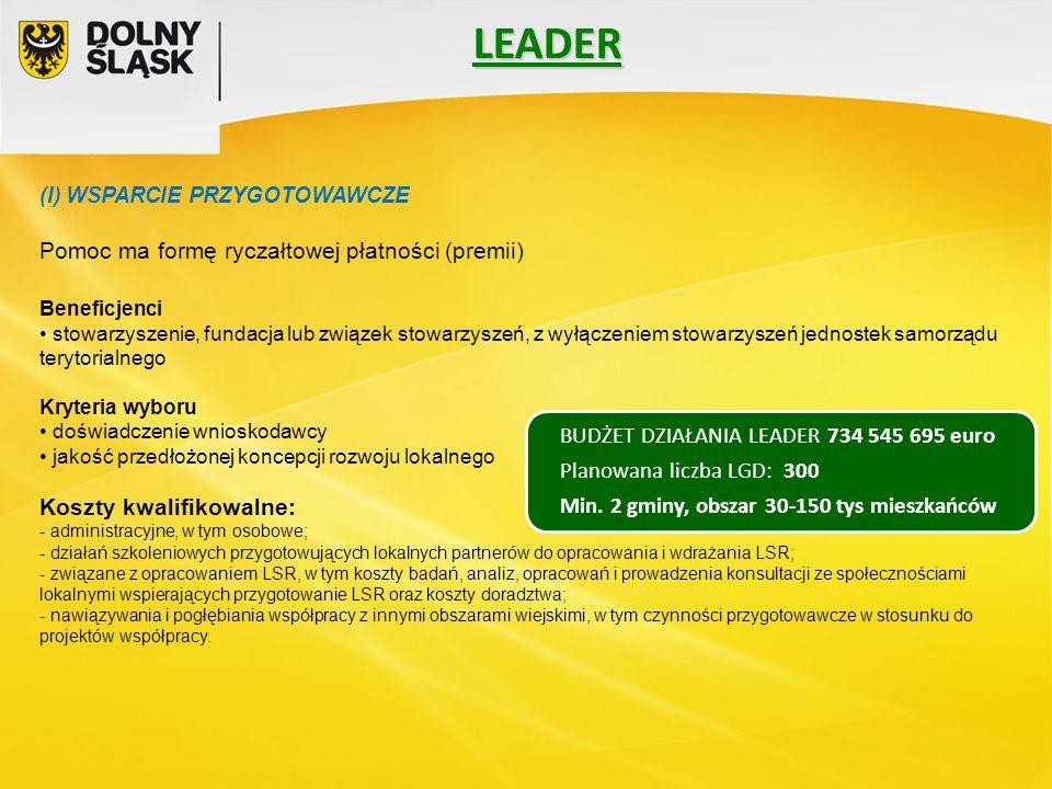 LEADER (I) WSPARCIE PRZYGOTOWAWCZE Pomoc ma formę ryczałtowej płatności (premii) Beneficjenci stowarzyszenie, fundacja lub związek stowarzyszeń, z wył