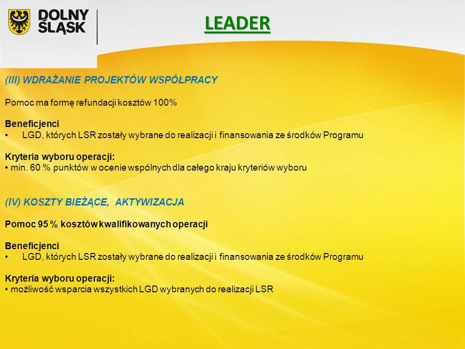 LEADER (III) WDRAŻANIE PROJEKTÓW WSPÓŁPRACY Pomoc ma formę refundacji kosztów 100% Beneficjenci LGD, których LSR zostały wybrane do realizacji i finan