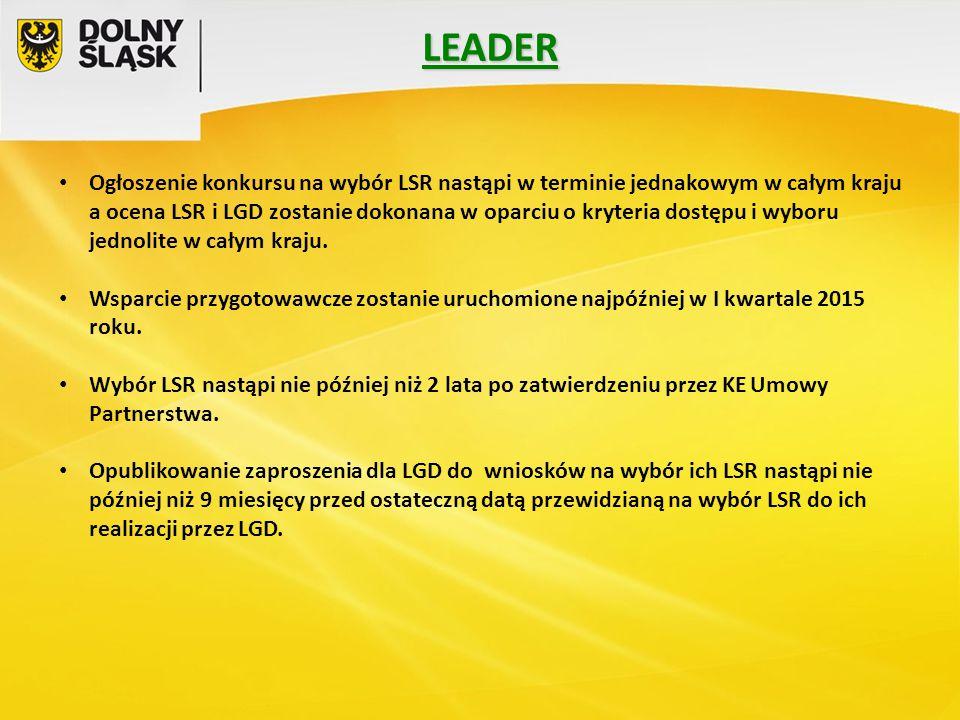 Ogłoszenie konkursu na wybór LSR nastąpi w terminie jednakowym w całym kraju a ocena LSR i LGD zostanie dokonana w oparciu o kryteria dostępu i wyboru