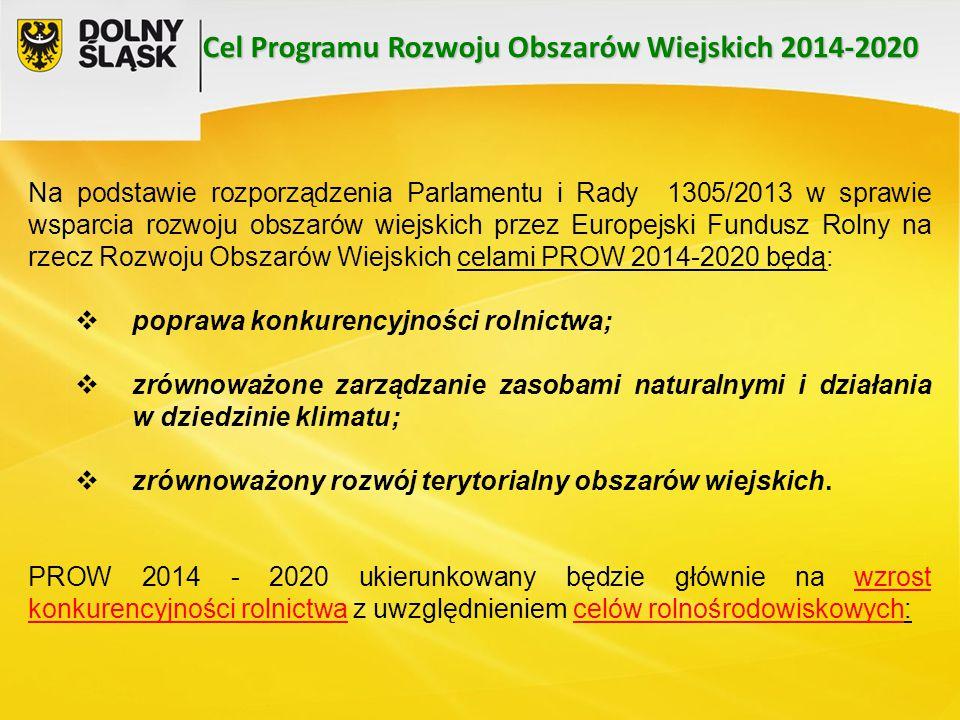 Na podstawie rozporządzenia Parlamentu i Rady 1305/2013 w sprawie wsparcia rozwoju obszarów wiejskich przez Europejski Fundusz Rolny na rzecz Rozwoju Obszarów Wiejskich celami PROW 2014-2020 będą:  poprawa konkurencyjności rolnictwa;  zrównoważone zarządzanie zasobami naturalnymi i działania w dziedzinie klimatu;  zrównoważony rozwój terytorialny obszarów wiejskich.