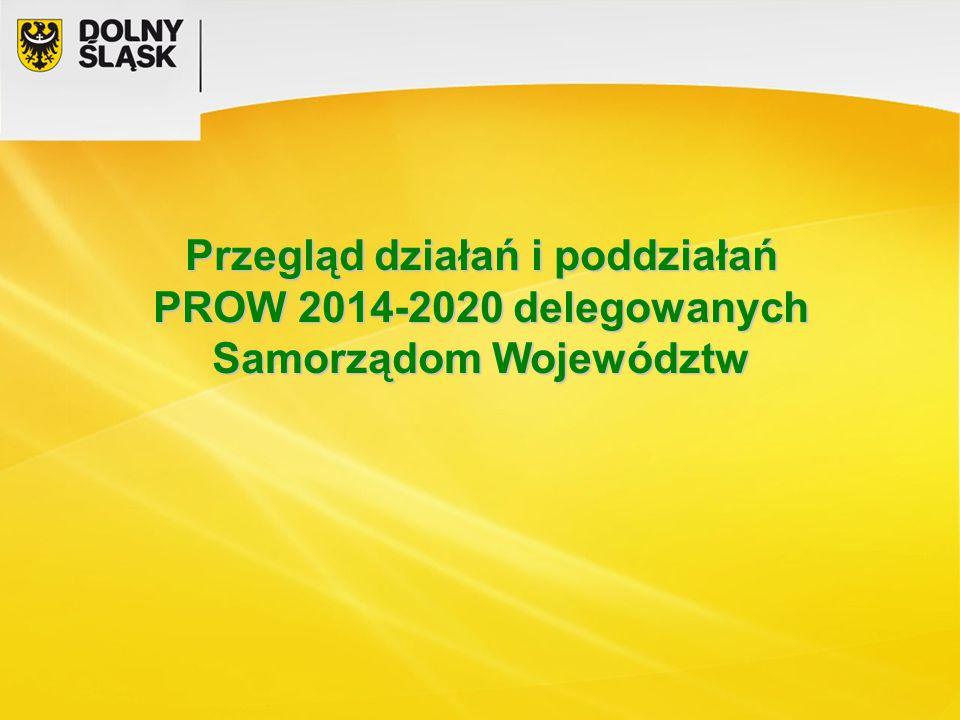 Przegląd działań i poddziałań PROW 2014-2020 delegowanych Samorządom Województw