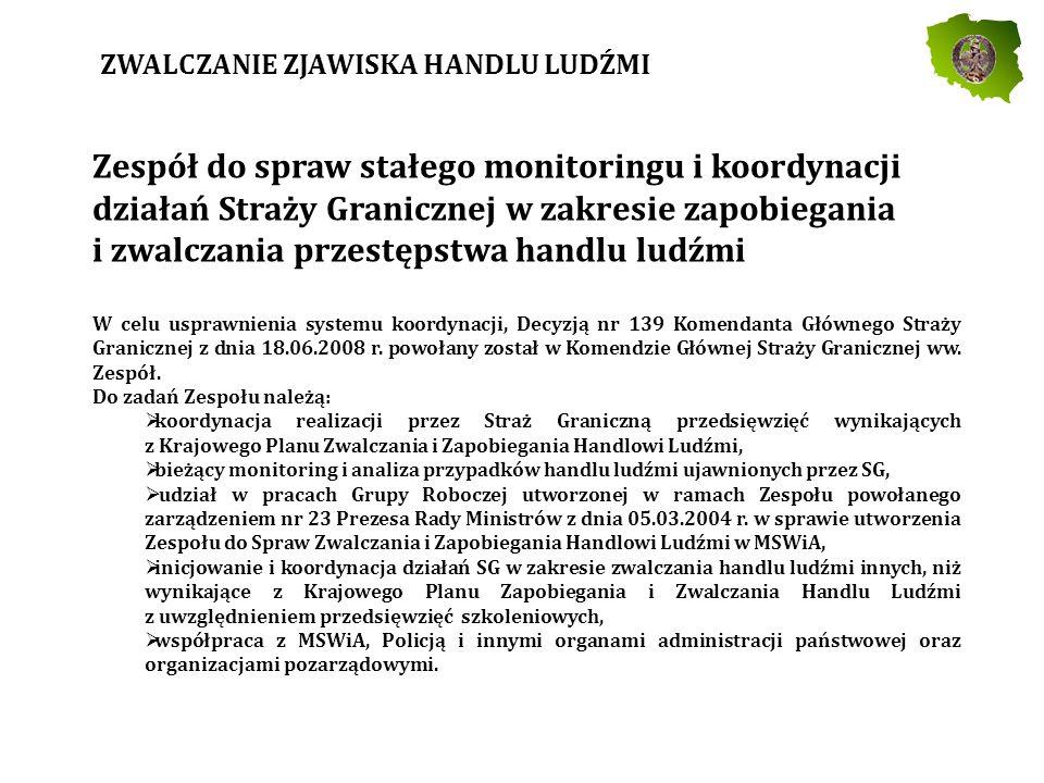 Zespół do spraw stałego monitoringu i koordynacji działań Straży Granicznej w zakresie zapobiegania i zwalczania przestępstwa handlu ludźmi W celu usprawnienia systemu koordynacji, Decyzją nr 139 Komendanta Głównego Straży Granicznej z dnia 18.06.2008 r.