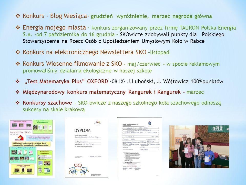  Konkurs - Blog Miesiąca- grudzień wyróżnienie, marzec nagroda główna  Energia mojego miasta - konkurs zorganizowany przez firmę TAURON Polska Energ