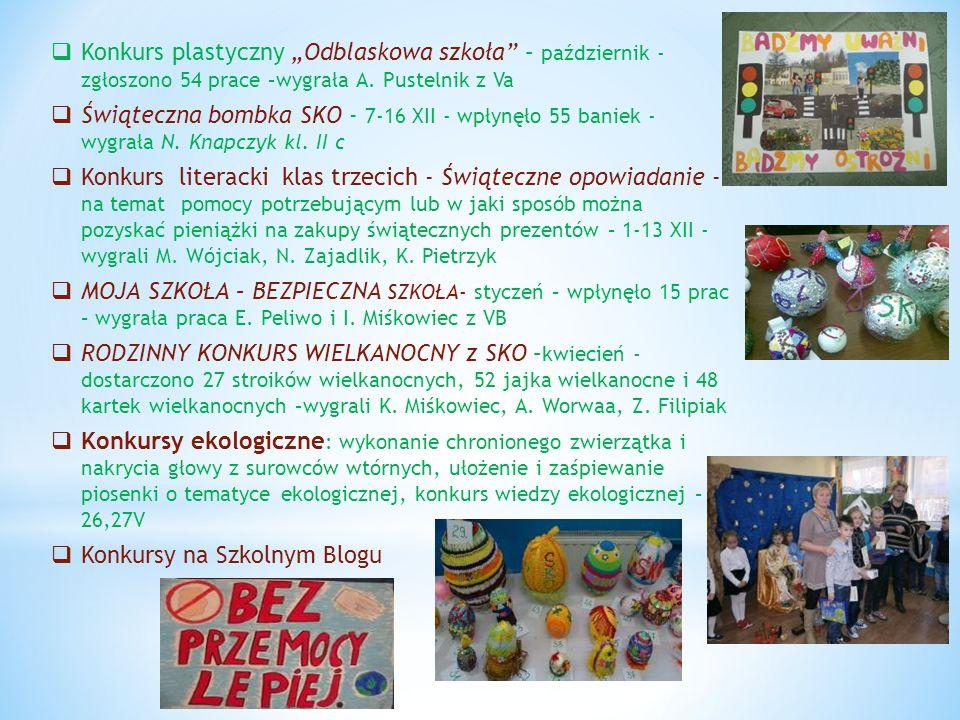 """ Konkurs plastyczny """"Odblaskowa szkoła"""" – październik - zgłoszono 54 prace –wygrała A. Pustelnik z Va  Świąteczna bombka SKO - 7-16 XII - wpłynęło 5"""