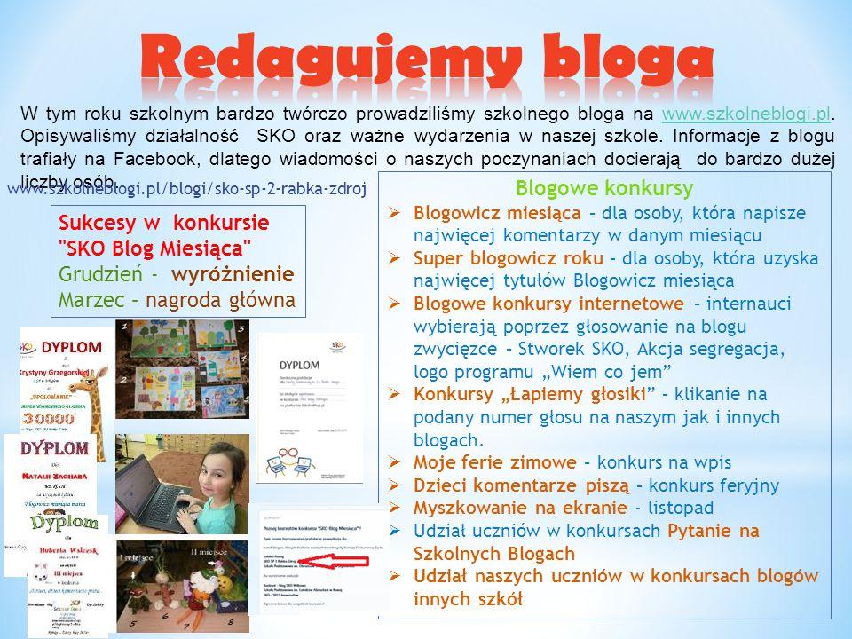 W tym roku szkolnym bardzo twórczo prowadziliśmy szkolnego bloga na www.szkolneblogi.pl. Opisywaliśmy działalność SKO oraz ważne wydarzenia w naszej s
