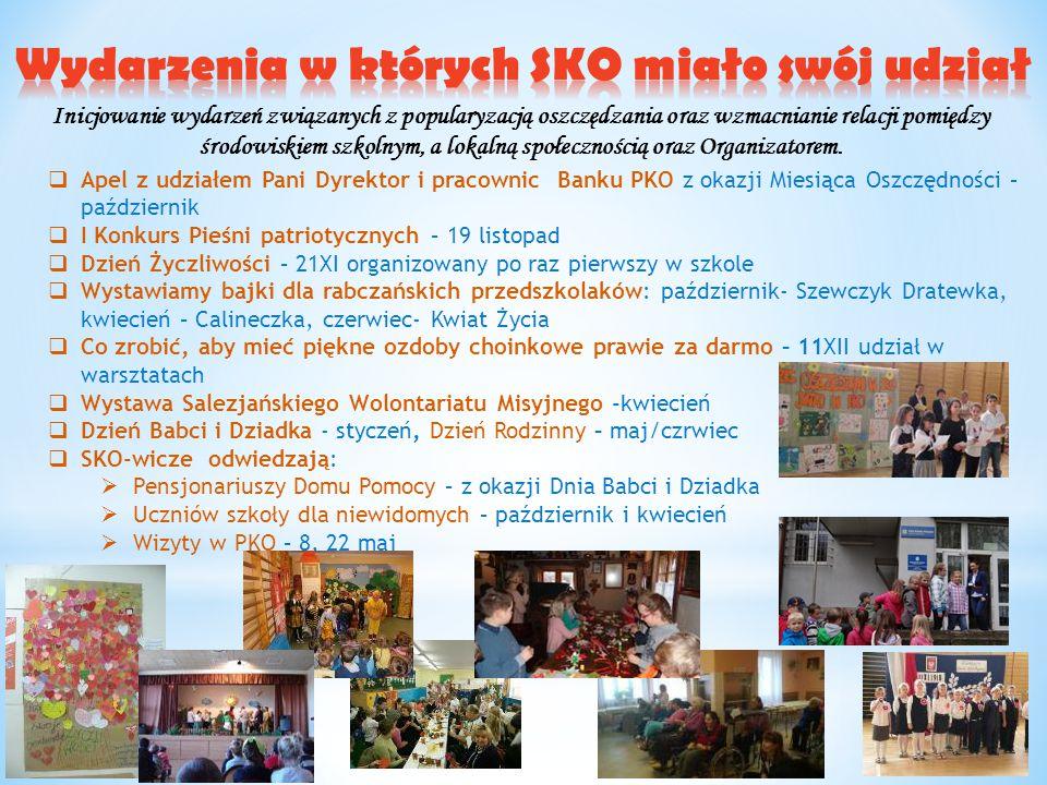 Inicjowanie wydarzeń związanych z popularyzacją oszczędzania oraz wzmacnianie relacji pomiędzy środowiskiem szkolnym, a lokalną społecznością oraz Org