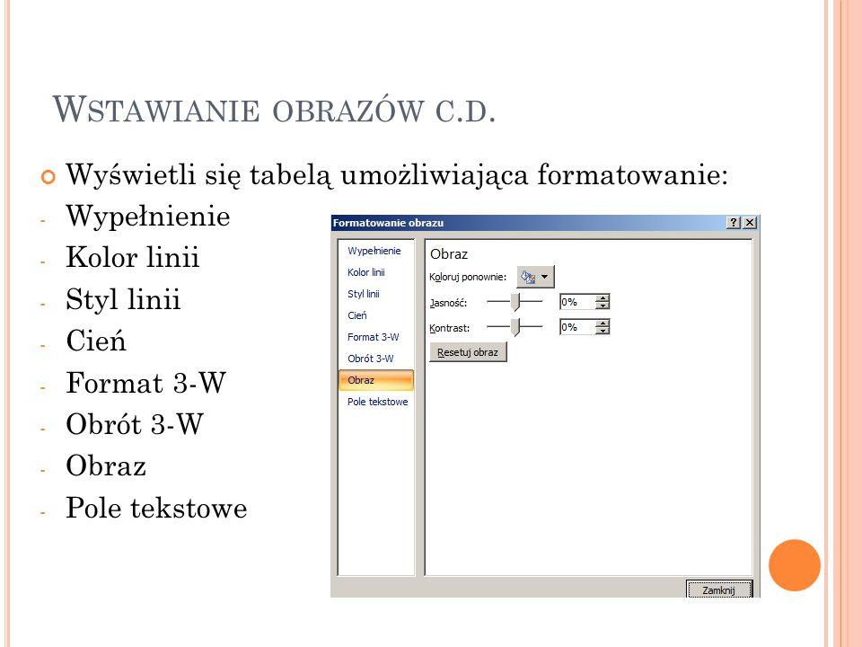 W STAWIANIE OBRAZÓW C.D. Mamy także możliwość formatowania obrazu z paska narzędzi.