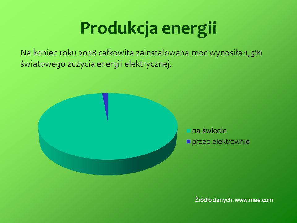 Produkcja energii Na koniec roku 2008 całkowita zainstalowana moc wynosiła 1,5% światowego zużycia energii elektrycznej. Źródło danych: www.mae.com
