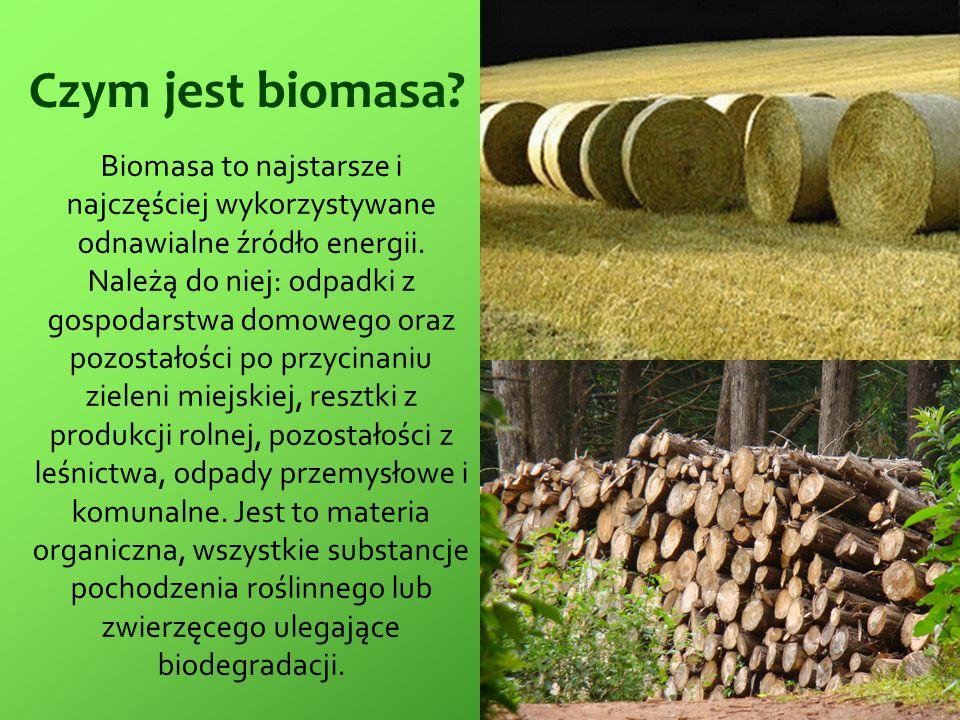 Czym jest biomasa? Biomasa to najstarsze i najczęściej wykorzystywane odnawialne źródło energii. Należą do niej: odpadki z gospodarstwa domowego oraz