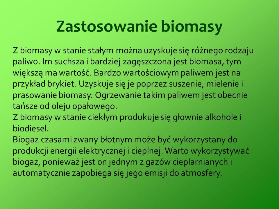 Zastosowanie biomasy Z biomasy w stanie stałym można uzyskuje się różnego rodzaju paliwo. Im suchsza i bardziej zagęszczona jest biomasa, tym większą
