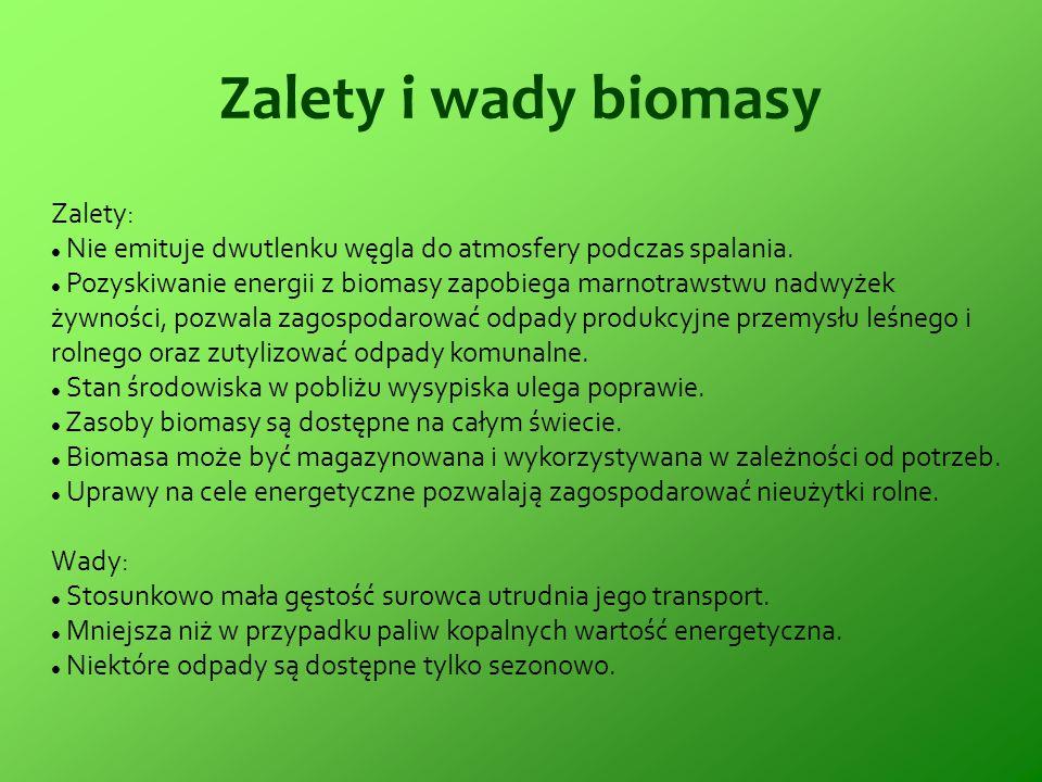 Zalety i wady biomasy Zalety: Nie emituje dwutlenku węgla do atmosfery podczas spalania. Pozyskiwanie energii z biomasy zapobiega marnotrawstwu nadwyż