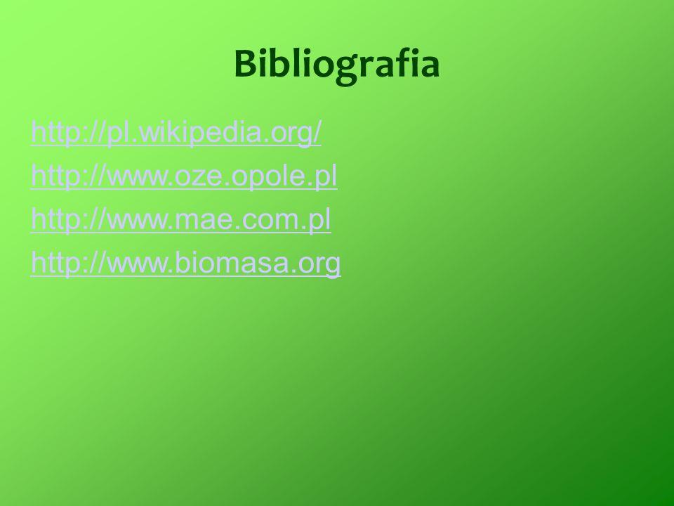 Bibliografia http://pl.wikipedia.org/ http://www.oze.opole.pl http://www.mae.com.pl http://www.biomasa.org
