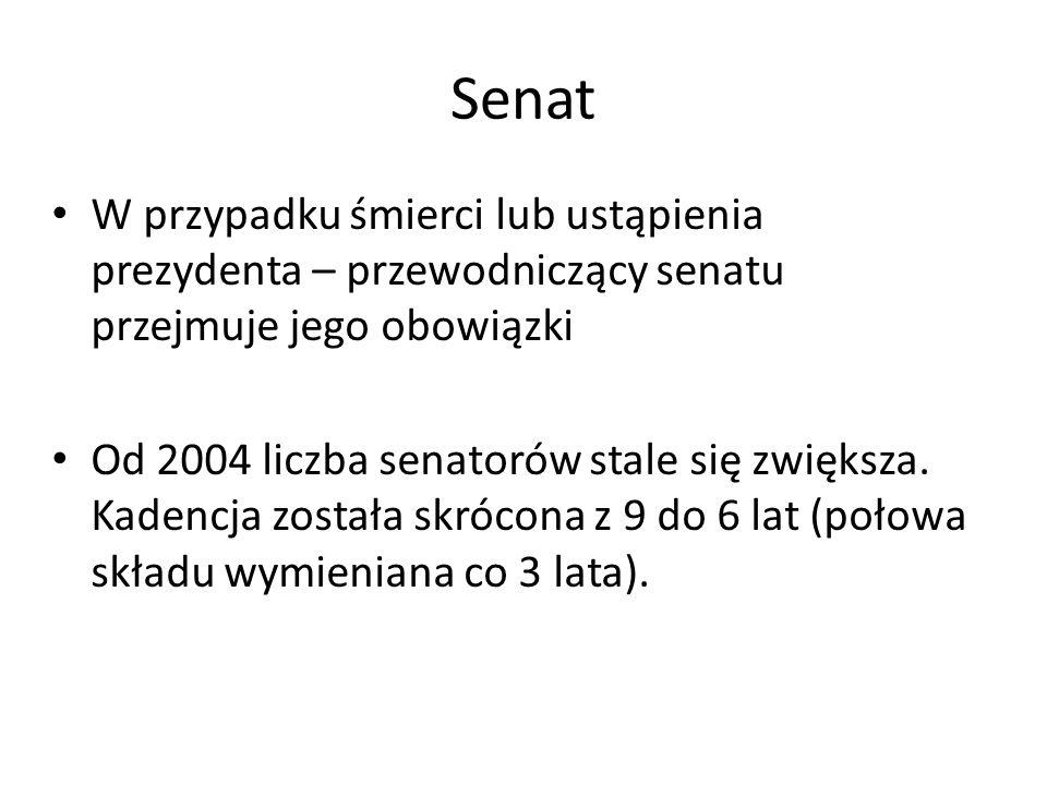 Senat W przypadku śmierci lub ustąpienia prezydenta – przewodniczący senatu przejmuje jego obowiązki Od 2004 liczba senatorów stale się zwiększa. Kade