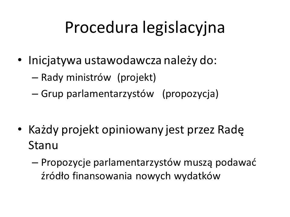 Procedura legislacyjna Inicjatywa ustawodawcza należy do: – Rady ministrów (projekt) – Grup parlamentarzystów (propozycja) Każdy projekt opiniowany je
