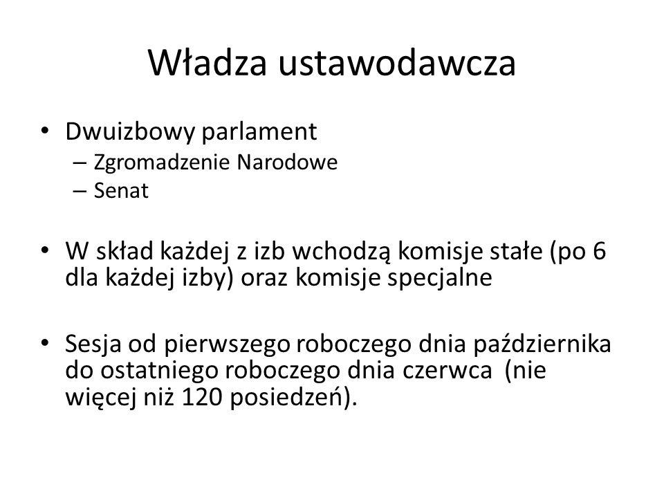 Dwuizbowy parlament – Zgromadzenie Narodowe – Senat W skład każdej z izb wchodzą komisje stałe (po 6 dla każdej izby) oraz komisje specjalne Sesja od
