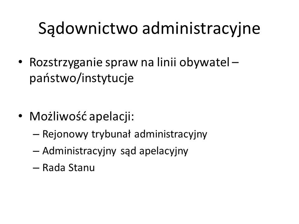 Sądownictwo administracyjne Rozstrzyganie spraw na linii obywatel – państwo/instytucje Możliwość apelacji: – Rejonowy trybunał administracyjny – Admin