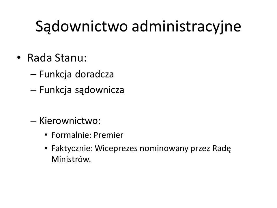 Sądownictwo administracyjne Rada Stanu: – Funkcja doradcza – Funkcja sądownicza – Kierownictwo: Formalnie: Premier Faktycznie: Wiceprezes nominowany p