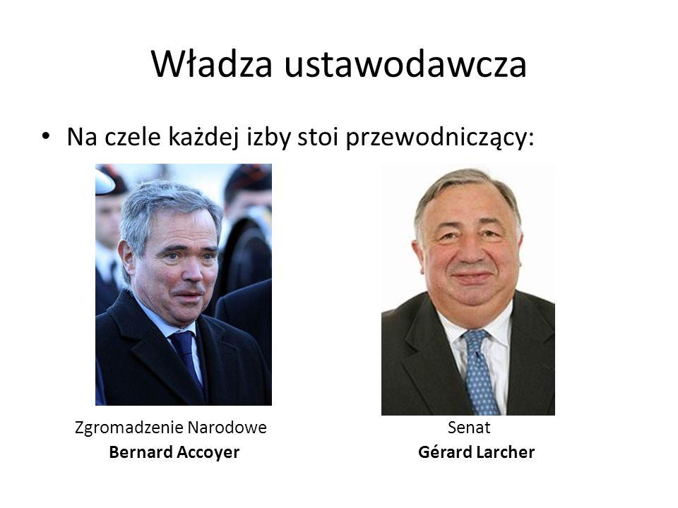 Władza ustawodawcza Na czele każdej izby stoi przewodniczący: Zgromadzenie NarodoweSenat Bernard Accoyer Gérard Larcher