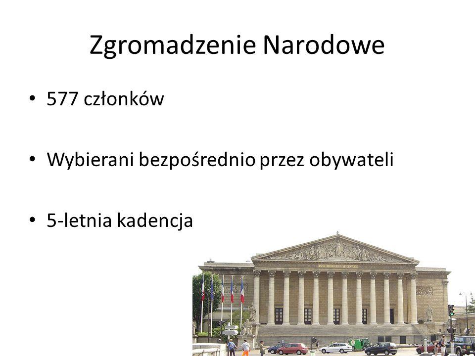 Zgromadzenie Narodowe 577 członków Wybierani bezpośrednio przez obywateli 5-letnia kadencja