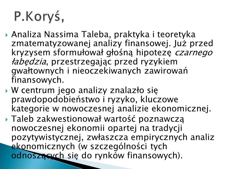  Analiza Nassima Taleba, praktyka i teoretyka zmatematyzowanej analizy finansowej.