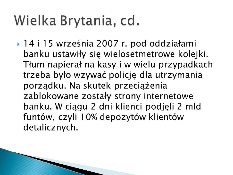  14 i 15 września 2007 r.pod oddziałami banku ustawiły się wielosetmetrowe kolejki.