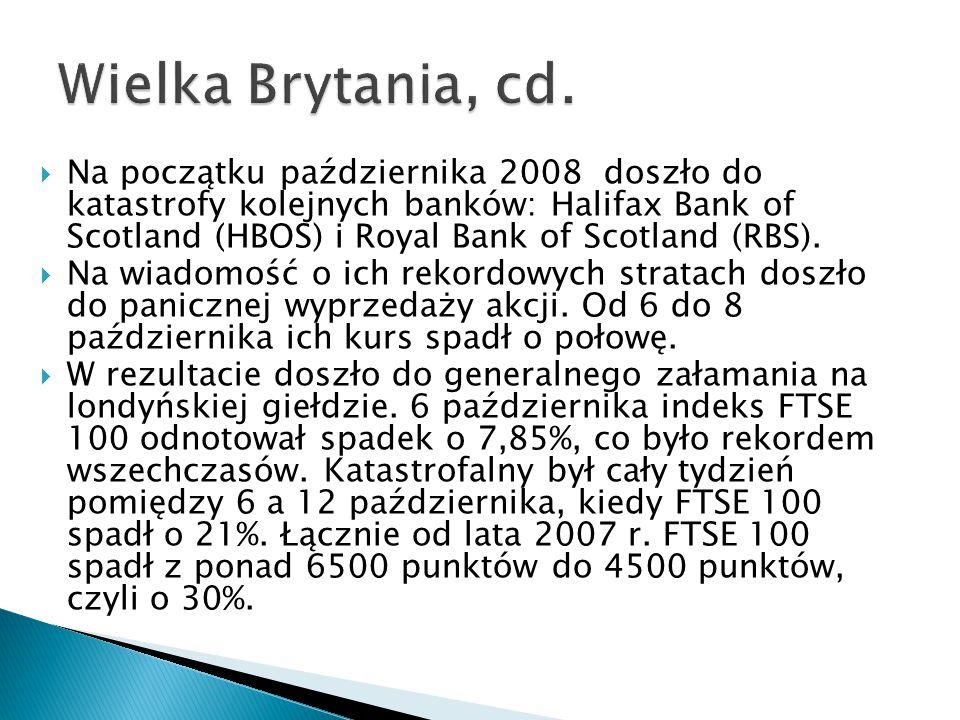  Na początku października 2008 doszło do katastrofy kolejnych banków: Halifax Bank of Scotland (HBOS) i Royal Bank of Scotland (RBS).