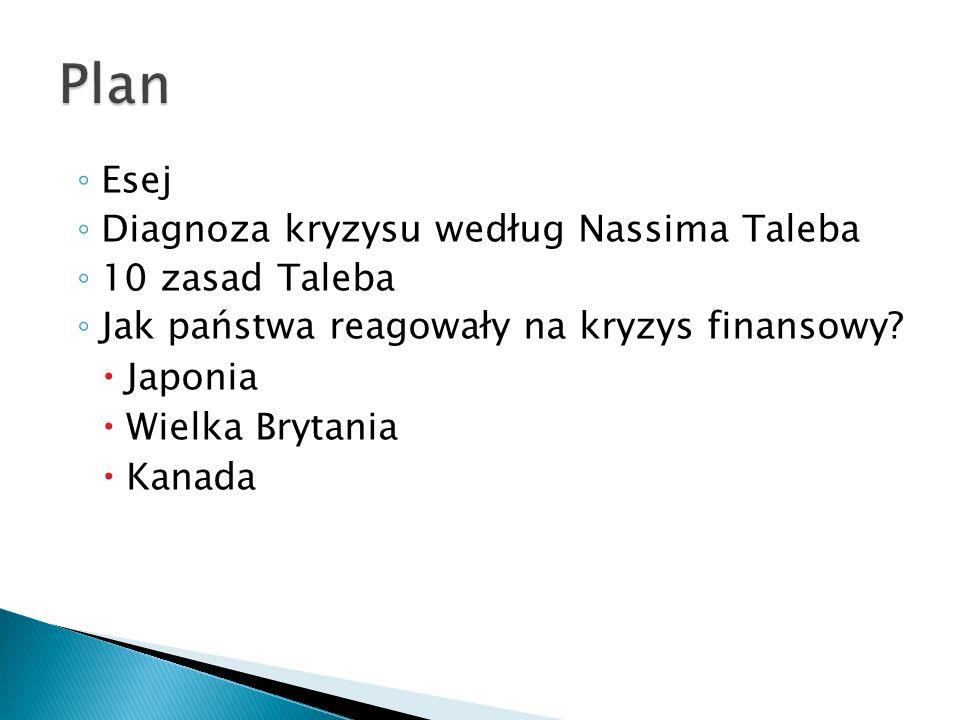 ◦ Esej ◦ Diagnoza kryzysu według Nassima Taleba ◦ 10 zasad Taleba ◦ Jak państwa reagowały na kryzys finansowy.