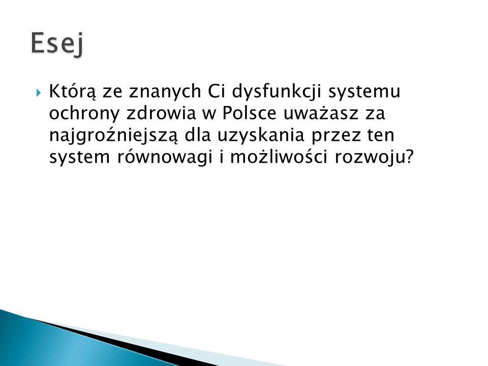  Którą ze znanych Ci dysfunkcji systemu ochrony zdrowia w Polsce uważasz za najgroźniejszą dla uzyskania przez ten system równowagi i możliwości rozwoju?