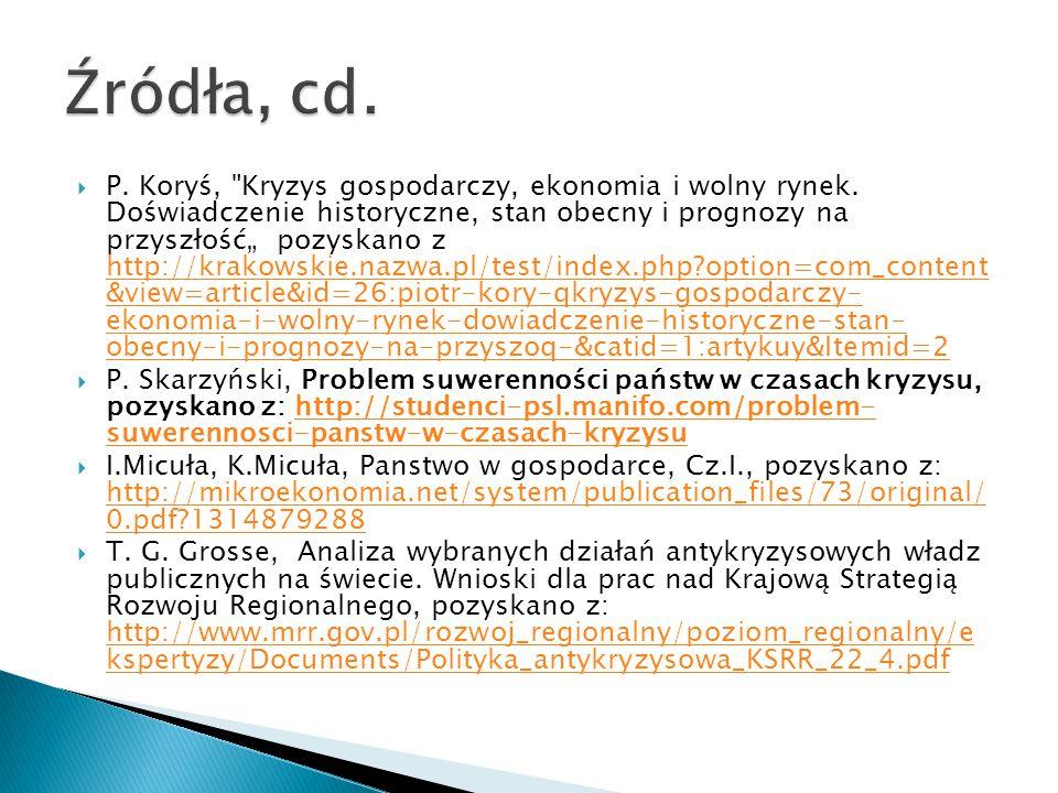  P.Koryś, Kryzys gospodarczy, ekonomia i wolny rynek.