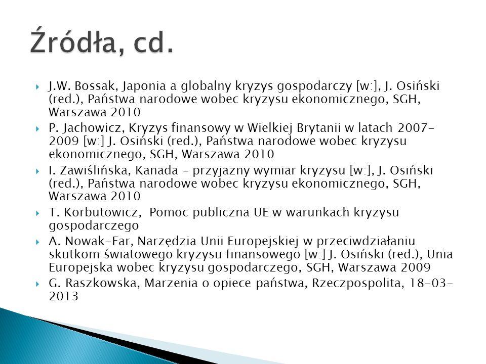  J.W.Bossak, Japonia a globalny kryzys gospodarczy [w:], J.